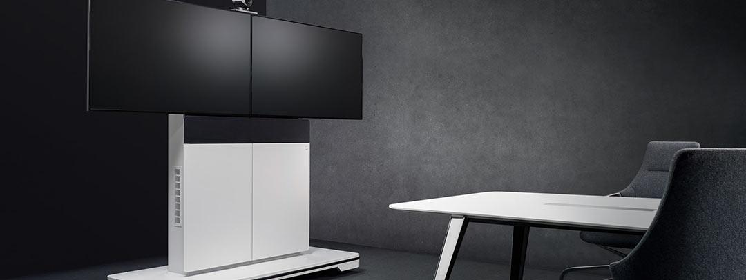 Read more about the article Elegant, funktional und mobil – die Medienstele W8